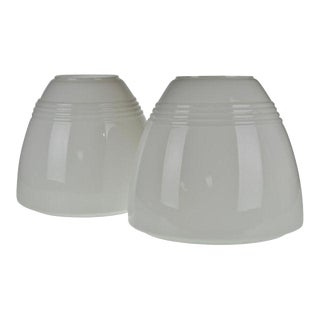 Mid Century White Cased Glass Shades - a Pair For Sale
