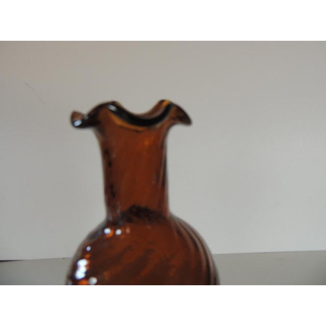 1980s Hand-Blown Amber Bud Vase For Sale - Image 5 of 6