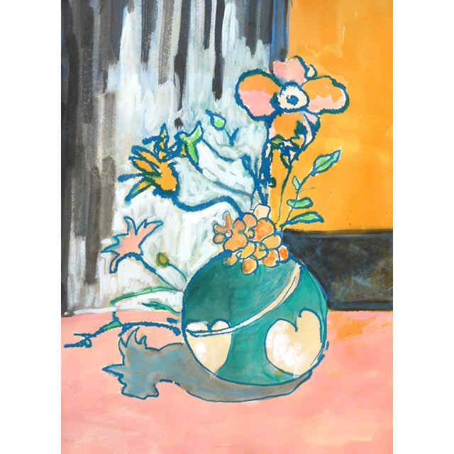 Apricot Contemporary Drawing, Flowers in a Heart Vase For Sale - Image 8 of 9