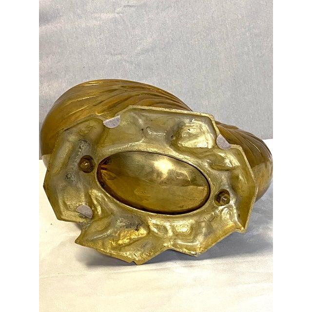 Beautiful Vintage Brass Seashell Snail Shell Display Figure Sculpture W/ Base Heavy For Sale In New York - Image 6 of 8