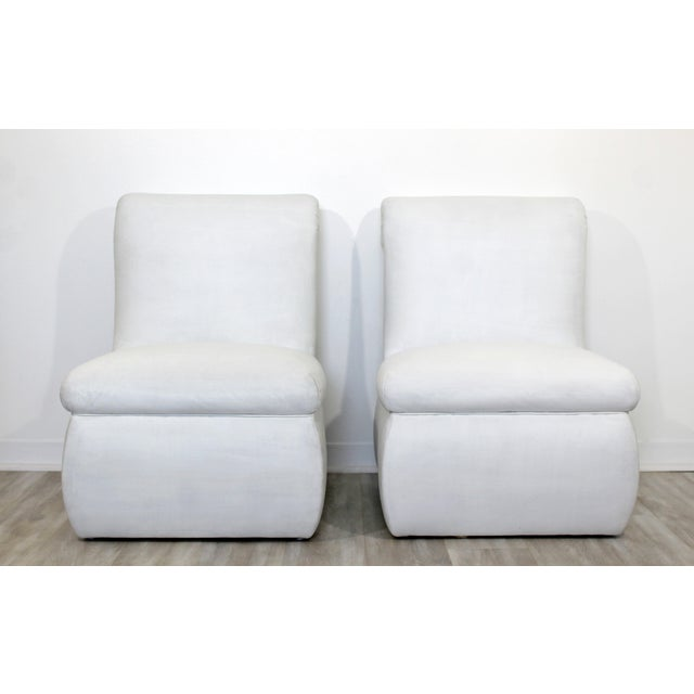 Contemporary Contemporary Modern White Leather Accent Slipper Side Chairs, 1980s - a Pair For Sale - Image 3 of 10