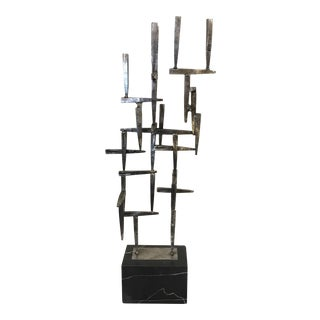 Brutalist Welded Metal & Marble Sculpture