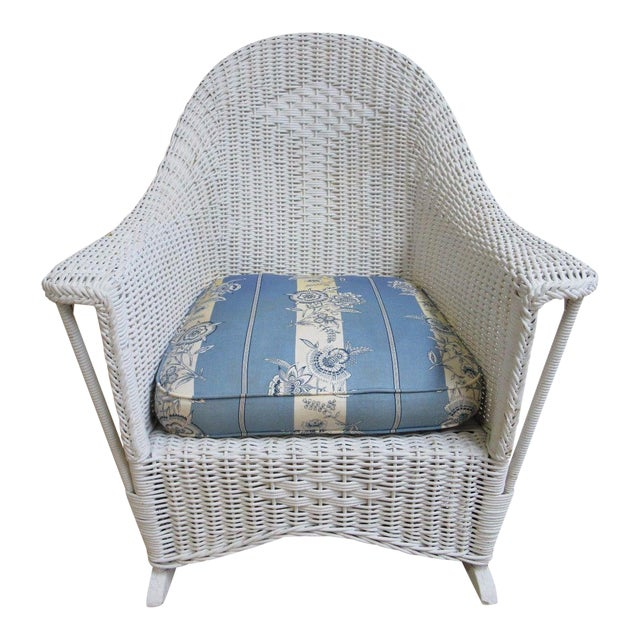 Antique Wicker Outdoor Patio Rocking Chair - Image 1 of 7
