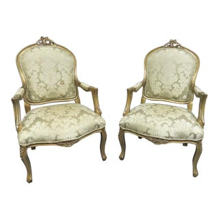 Louis XV Gold & Silver Gilt Carved Chairs- a Pair For Sale