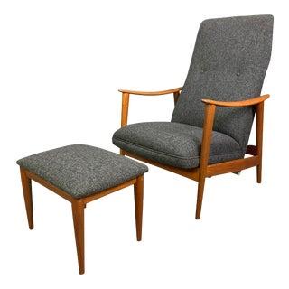Vintage Scandinavian Mid Century Modern Teak Lounge Chair and Ottoman by Arnt Lande for Westnofa For Sale