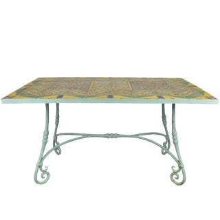 Original D&m Tile Top Table With Hand-Wrought Iron Base For Sale