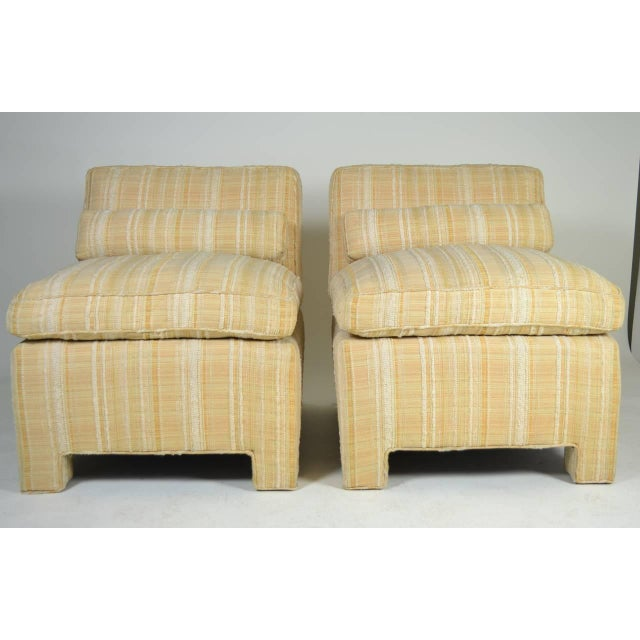 1960s Pair of Modern Upholstered Slipper Chairs, circa 1960s For Sale - Image 5 of 10