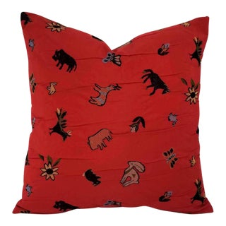 Kravet Frontier Habanero Red Embroidered Wildlife Pillow Cover For Sale