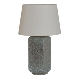 Chic Art Deco Shagreen Glaze Ceramic Lamp With Parchment Shade For Sale