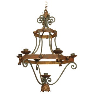 Late 19th Century Painted Iron Candlestick Chandelier From France For Sale