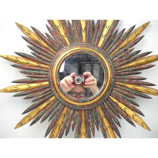 Mid 19th Century French Carved Wood Starburst Mirror For Sale - Image 5 of 8