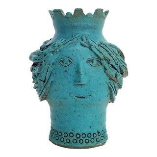 1970s Studio Art Pottery Ceramic Sculpture Blue Vase by Maurice Grossman-Cubist Mid Century Modern Brutalist Boho Face Bust Abstract Cubist Art Deco