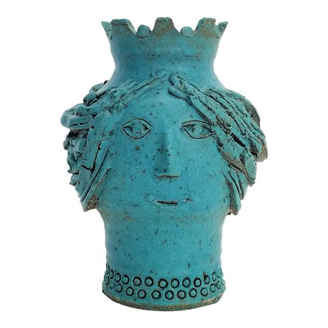 1970s Studio Art Pottery Ceramic Sculpture Blue Vase by Maurice Grossman-Cubist Mid Century Modern Brutalist Boho Face Bust Abstract MCM Art Deco For Sale