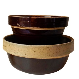 Vintage Brown Stoneware Mixing Bowls - A Pair