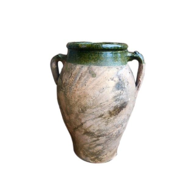 A pair of 14 ½ inch high, two-tone finished with green glaze and terracotta olive jars. Often associated with storage...