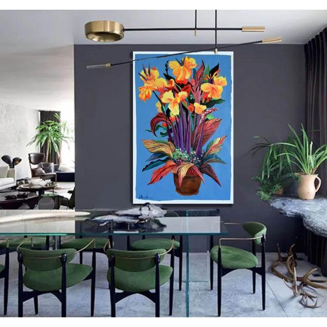 """Pot De Fleurs"" Calla and Canna Watercolor Painting - Image 4 of 8"