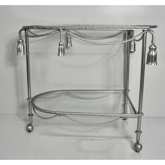 Elegant Vintage Metal Bar Cart Hand Painted Rope and Tassel Bar Cart includes spacious upper and lower glass shelves and...