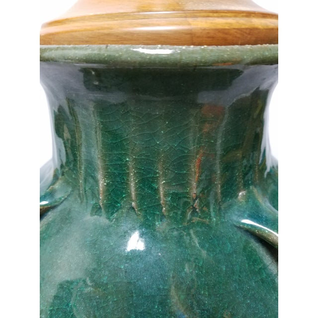 Early 20th Century Mediterranean Terracotta & Green Olive Jar Lamp For Sale - Image 5 of 10