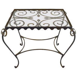 French Art Deco Garden Table With Glass Top For Sale