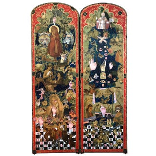 Powerful Mixed-Media Collage Diptych on Victorian Panels For Sale