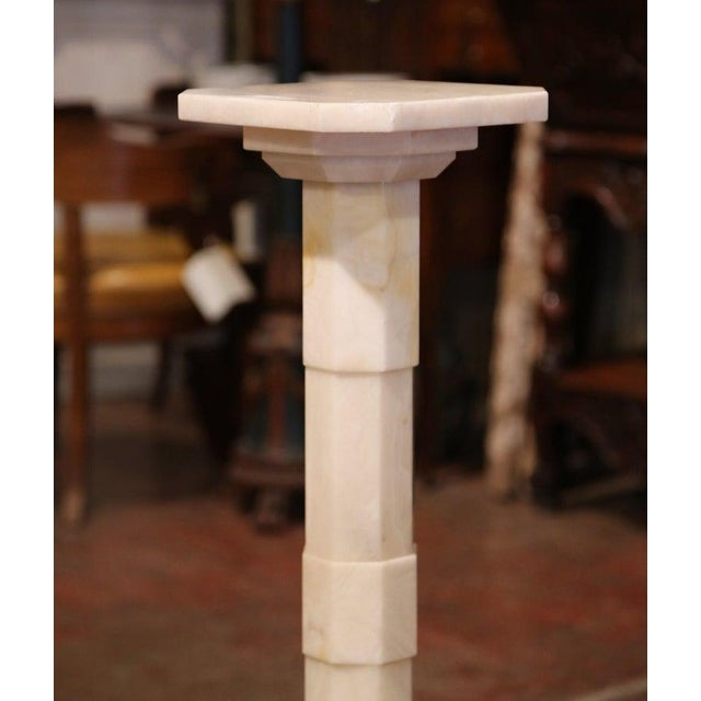 Art Nouveau Early 20th Century French Carved Beige Marble Pedestal Table With Swivel Top For Sale - Image 3 of 7
