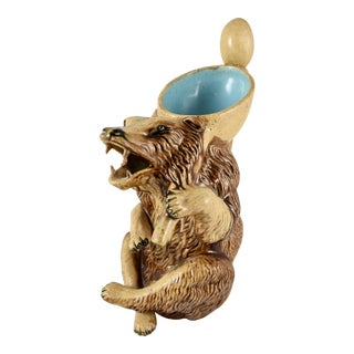 Late 19th Century American Majolica Honey Bear Pitcher For Sale