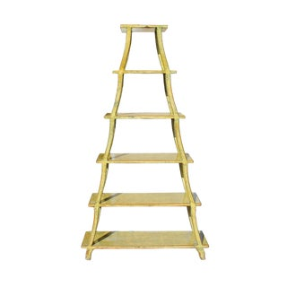 Distressed Yellow 5 Shelves Triangle Ladder Shape Bookcase Display Cabinet For Sale