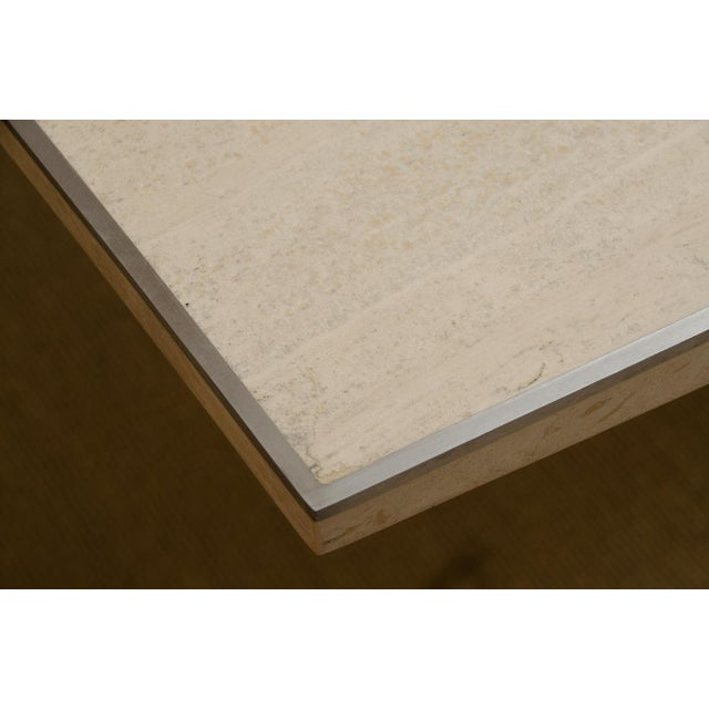 Willy Rizzo Willy Rizzo Signed Travertine Dining Table For Sale - Image 4 of 7