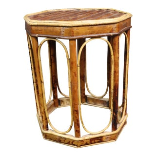 Mid Century Burnt Bamboo Plant Stand For Sale