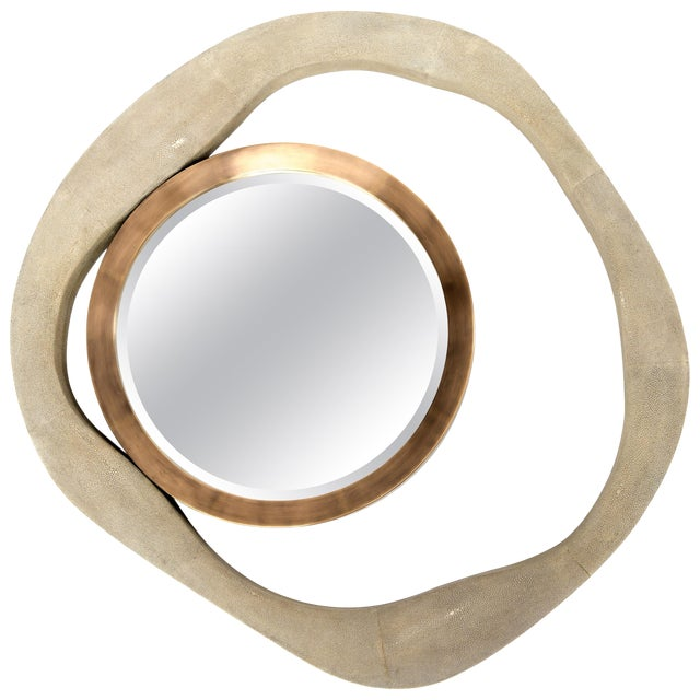 Lily Mirror Medium in Cream Shagreen and Bronze-Patina Brass by R&y Augousti For Sale