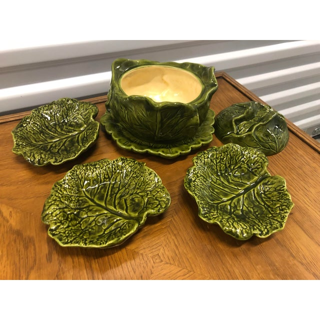 Vintage Cabbage Tureen with under-plate and matching sharable plates by Holland Ceramics. These whimsical pieces are hand...