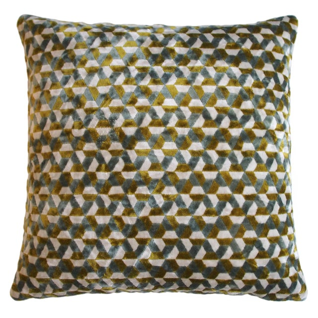 Geometric velvet pillow in shades of brown and grey. Back is same as front. 95% Feather 5% Down Insert. Made in the USA