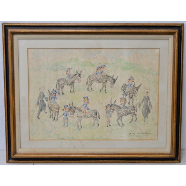 "Jean Lareuse ""School Girls on a Donkey Ride"" Original Watercolor C.1950 For Sale - Image 10 of 10"