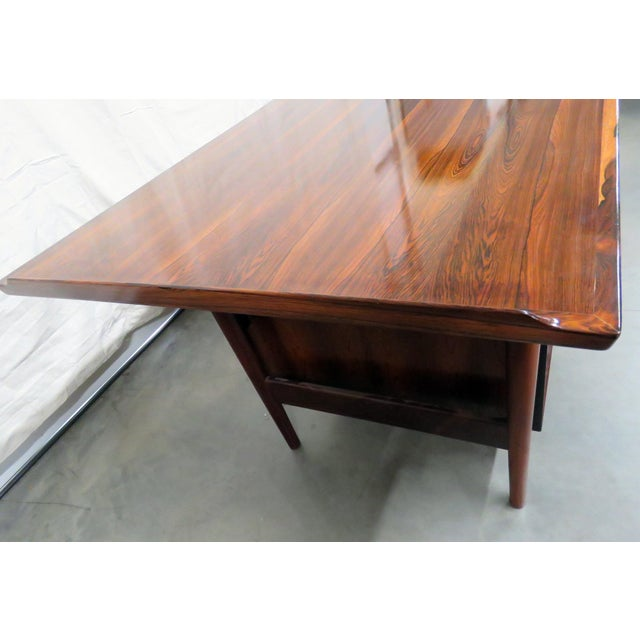 Brown Large Mid-Century Modern Rosewood Desk For Sale - Image 8 of 11