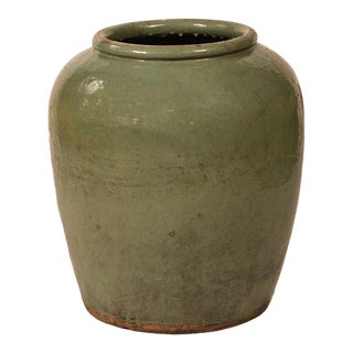 Green Ceramic Urn Planter For Sale