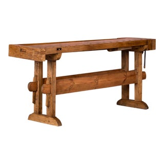 1900s Industrial Danish Carpenter's Workbench or Console Table For Sale
