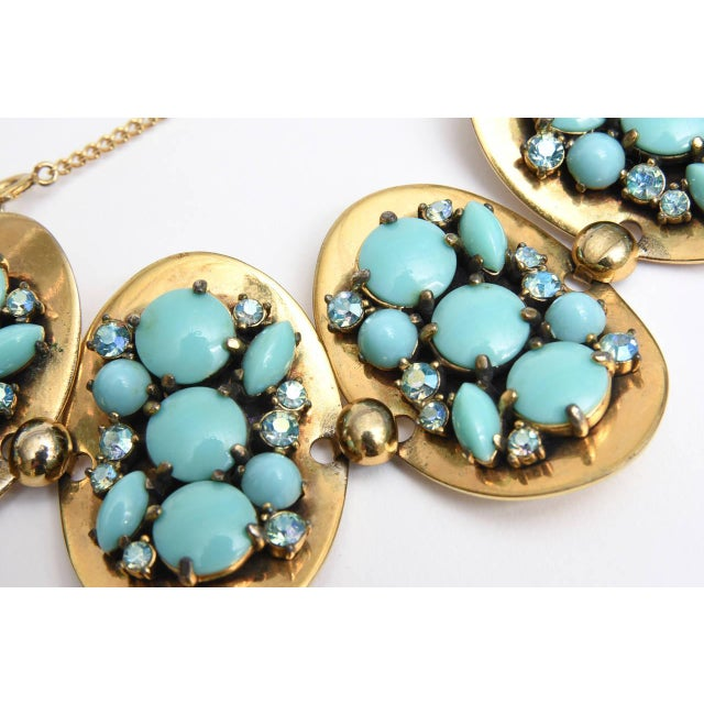 Turquoise Schiaparelli 5-Disc Cluster Faux Turquoise and Rhinestone Bracelet For Sale - Image 8 of 11