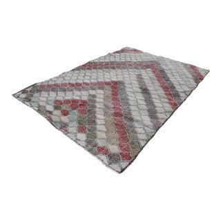 1990's Vintage Multi Color Turkish Handmade Geometrical Design Area Rug- 6′3″ × 8′4″ For Sale