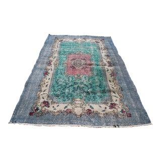 Modern Turkish Multi Color Area Rug Over Dyed Handmade Floral Design Wool Rug 5x7.5 Ft For Sale