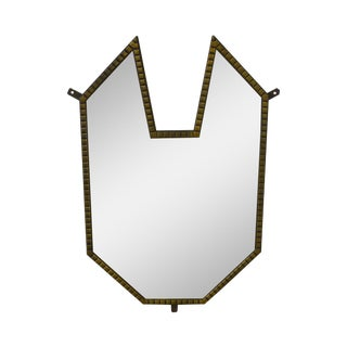 Art Deco 1930s Vintage Brass Cubist Mirror For Sale