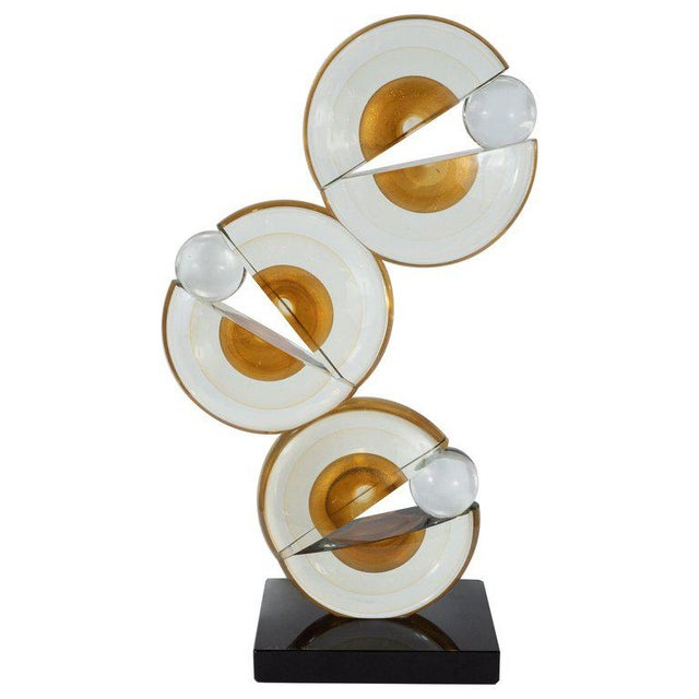 White Modernist Handblown Murano Glass Geometric Sculpture With 24-Karat Gold Flecks For Sale - Image 8 of 8