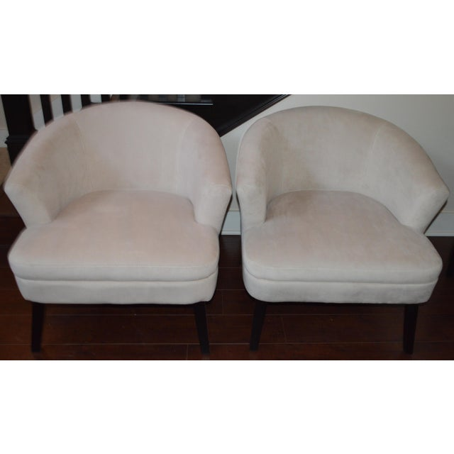 Creme Velveteen Club Chairs - A Pair - Image 5 of 6
