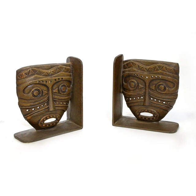 Cast Bronze Tiki Mask Bookends For Sale