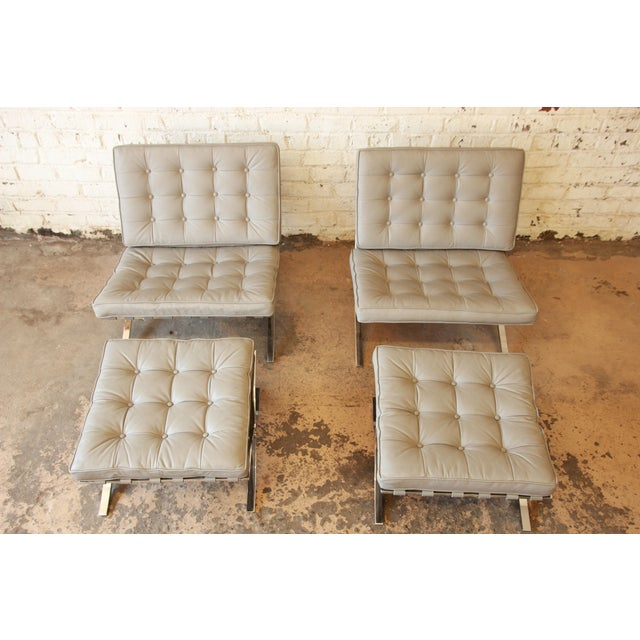 Van Der Rohe Barcelona Chairs & Ottomans -Set of 4 - Image 4 of 11