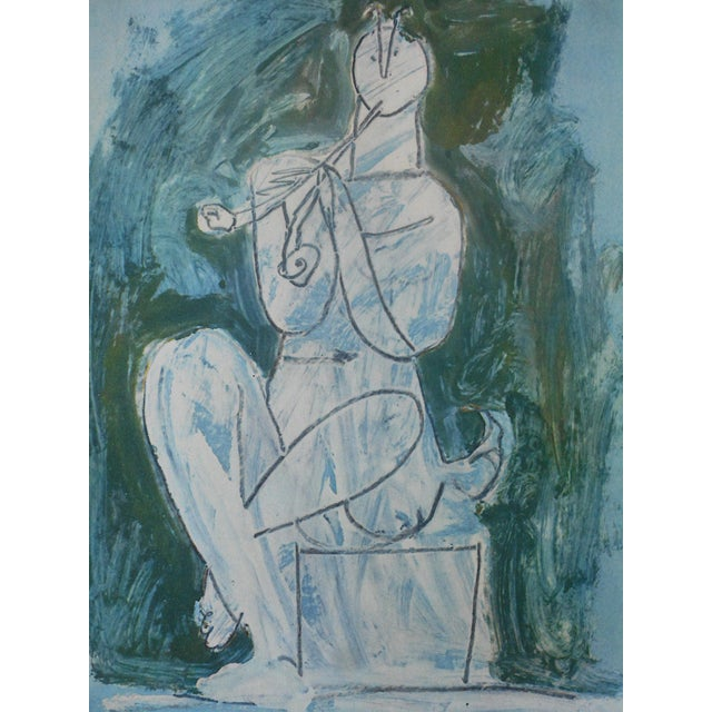 This Picasso lithograph (offset) depicts one of Pablo Picasso's (Spain, France1881-1973) iconic abstracted images. This is...