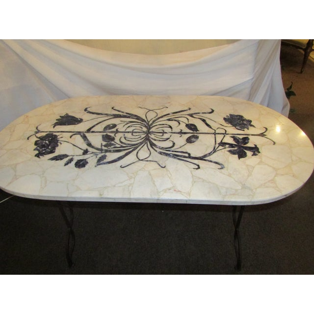 Marble Topped Wrought Iron Table - Image 3 of 6