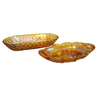 1950s Midcentury Harvest Gold Serving Dishes - a Pair For Sale