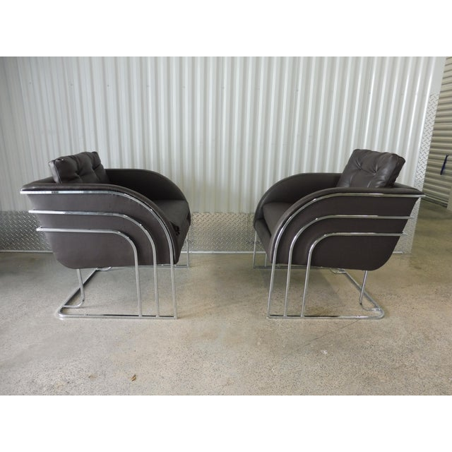 1970s 1970's Mid-Century Modern Milo Baughman Chrome and Leather Club Chairs - a Pair For Sale - Image 5 of 11