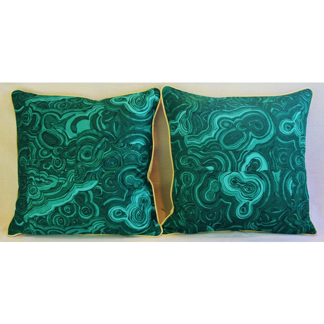 """Contemporary 24"""" Tony Duquette-Style Jim Thompson Malachite Feather/Down Pillows - a Pair For Sale - Image 3 of 5"""