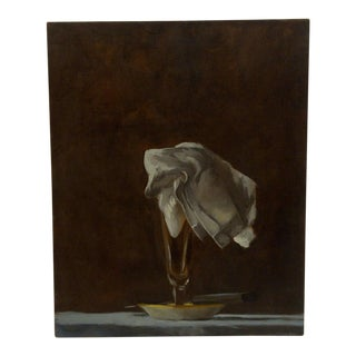 """20th Century Contemporary Original Framed Painting on Canvas, """"Napkin in Glass"""" by Frederick McDuff"""